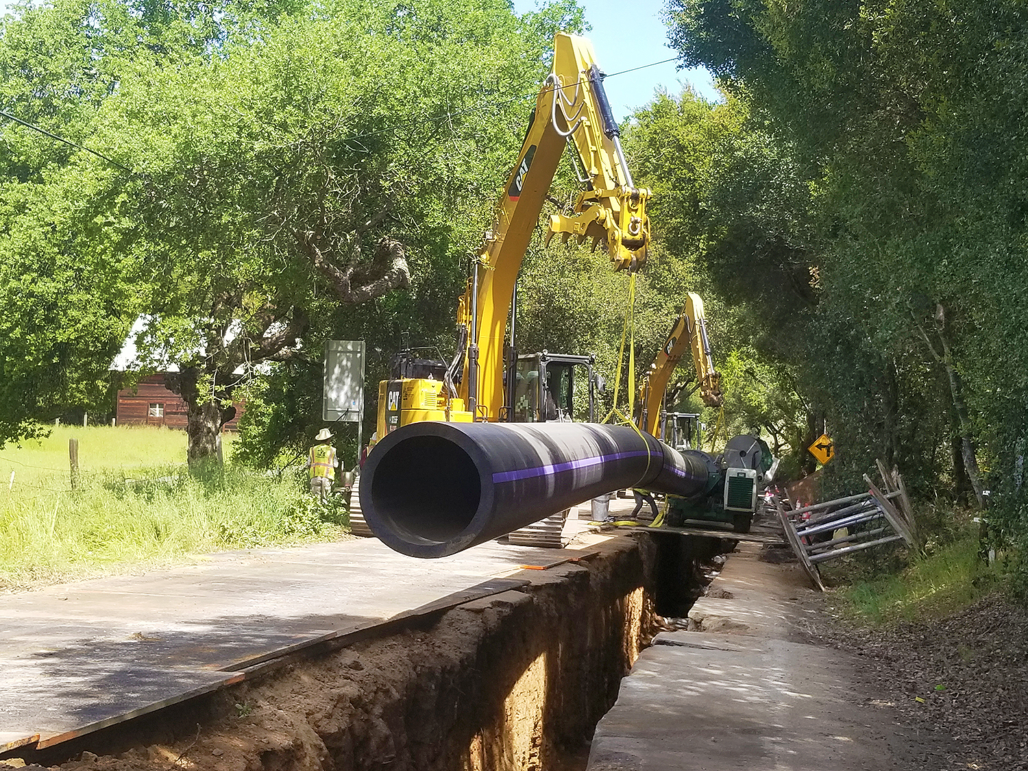 Installing a section of pipeline beneath Cochrane Road in Morgan Hill.